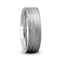 Double Line Satin & Polished Mens Wedding Band Ring 14K White Gold