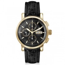Allurez Men's Chronograph Black Crocodile Strap 18k Yellow Gold Watch