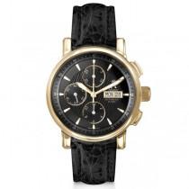 Allurez Men's Chronograph Black Crocodile Strap 18k Yellow Gold Watch