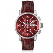 Allurez Men's Chronograph Burgundy Crocodile Strap 18k Yellow Gold Watch