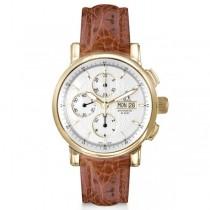 Allurez Men's Swiss Chronograph Crocodile Strap 18k Yellow Gold Watch