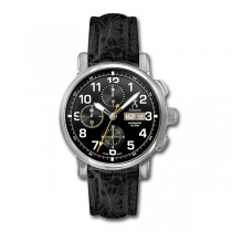 Allurez Mens Swiss-Made Auto-Mechanical Black Crocodile Skin Timepiece