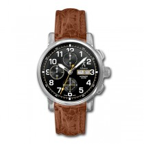 Allurez Mens Swiss-made Auto-Mechanical Brown Crocodile Skin Timepiece
