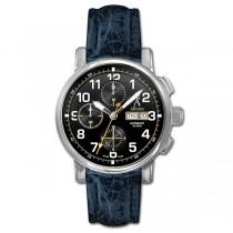 Allurez Swiss-Made Blue Crocodile Skin Auto-Mechanical Chrono-Timepiece