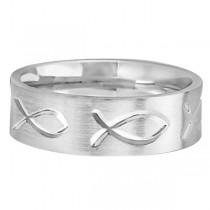 Engraved Christian Fish Wedding Ring 14k White Gold (7mm)