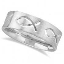 Engraved Christian Fish Wedding Ring 18k White Gold (7mm)