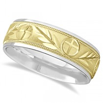 Men's Christian Leaf and Cross Wedding Band 14k Two Tone Gold (7mm)