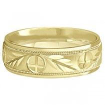 Men's Christian Leaf and Cross Wedding Band 14k Yellow Gold (7mm)