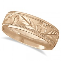 Men's Christian Leaf and Cross Wedding Band 18k Rose Gold (7mm)