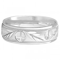 Men's Christian Leaf and Cross Wedding Band 18k White Gold (7mm)