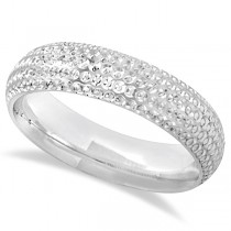Fancy Carved Contemporary Designer Wedding Ring 18k White Gold (5mm)