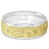 Hand-Engraved Flower Wedding Ring Wide Band 14k Two Tone Gold (7mm)