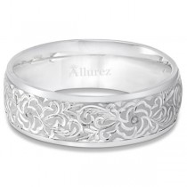 Hand-Engraved Flower Wedding Ring Wide Band 14k White Gold (7mm)|escape