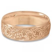 Hand-Engraved Flower Wedding Ring Wide Band 18k Rose Gold (7mm)|escape