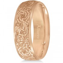 Hand-Engraved Flower Wedding Ring Wide Band 18k Rose Gold (7mm)