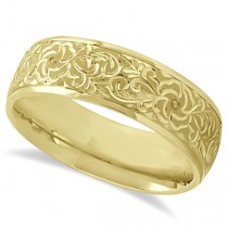 Hand-Engraved Flower Wedding Ring Wide Band 18k Yellow Gold (7mm)
