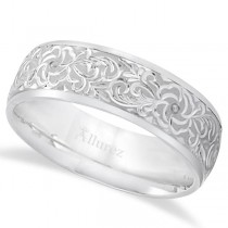 Hand-Engraved Flower Wedding Ring Wide Band Palladium (7mm)