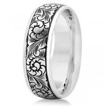 Fancy Hand-Engraved Flower Design Wedding Band in 14k White Gold