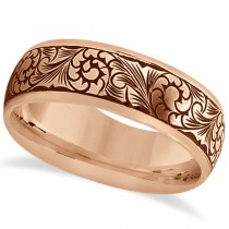 Fancy Hand-Engraved Flower Design Wedding Band in 18k Rose Gold