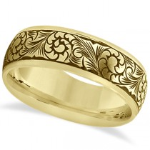 Fancy Hand-Engraved Flower Design Wedding Band in 18k Yellow Gold