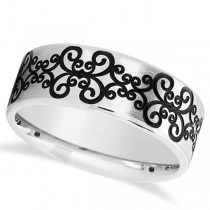 Unisex Floral Design Wedding Band in Plain Metal 14k White Gold 8mm