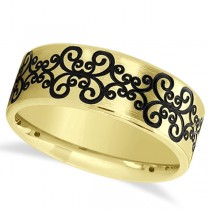 Unisex Floral Design Wedding Band in Plain Metal 18k Yellow Gold 8mm