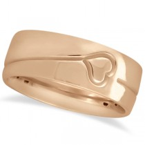 Ultra Fancy Carved Heart Design Wide Wedding Band in 18k Rose Gold
