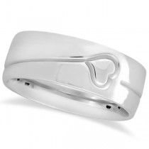 Ultra Fancy Carved Heart Design Wide Wedding Band in 18k White Gold