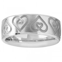 Ultra-Fancy Embossed Twin Heart Wedding Band in 14k White Gold