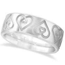 Ultra-Fancy Embossed Twin Heart Wedding Band in 18k White Gold