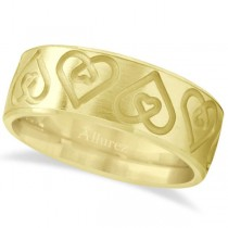 Ultra-Fancy Embossed Twin Heart Wedding Band in 18k Yellow Gold