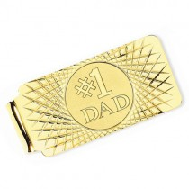 Number One Dad Money Clip Plain Metal 14k Yellow Gold