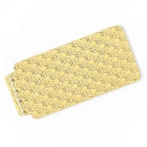 Knitted Design Money Clip Plain Metal 14k Yellow Gold