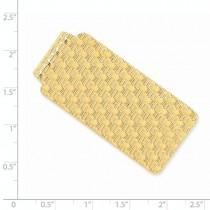 Knitted Design Money Clip Plain Metal 14k Yellow Gold