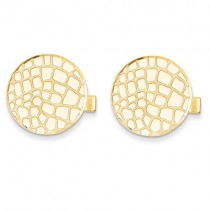 Pebble Design Cuff Links Plain Metal 14k Yellow Gold