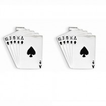 Playing Cards Royal Flush Cuff Links Plain Metal 14k White Gold