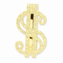 Knitted Design Dollar Sign Money Clip Plain Metal 14k Yellow Gold