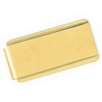 Edged Design Satin Polished Money Clip Plain Metal 14k Yellow Gold