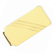 Engraved Striped Design Money Clip Plain Metal 14k Yellow Gold