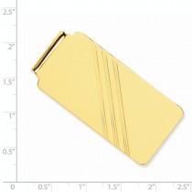 Engraved Striped Design Money Clip Plain Metal 14k Yellow Gold