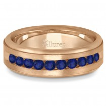 Men's Channel Set Blue Sapphire Wedding Band 14k Rose Gold (0.25ct)