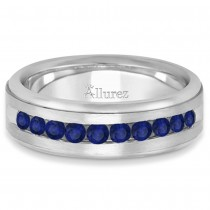Men's Channel Set Blue Sapphire Wedding Band 14k White Gold (0.25ct)