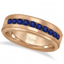 Men's Channel Set Blue Sapphire Wedding Band 18k Rose Gold (0.25ct)