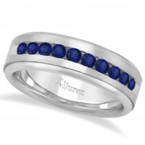 Men's Channel Set Blue Sapphire Wedding Band 18k White Gold (0.25ct)