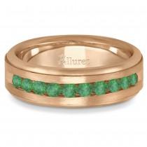 Men's Channel Set Emerald Ring Wedding Band 14k Rose Gold (0.25ct)