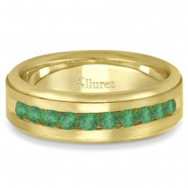 Men's Channel Set Emerald Ring Wedding Band 14k Yellow Gold (0.25ct)