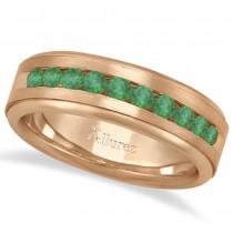 Men's Channel Set Emerald Ring Wedding Band 18k Rose Gold (0.25ct)