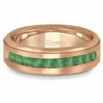 Men's Channel Set Emerald Ring Wedding Band 18k Rose Gold (0.25ct)