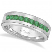 Men's Channel Set Emerald Ring Wedding Band 18k White Gold (0.25ct)