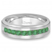 Men's Channel Set Emerald Ring Wedding Band in Palladium (0.25ct)